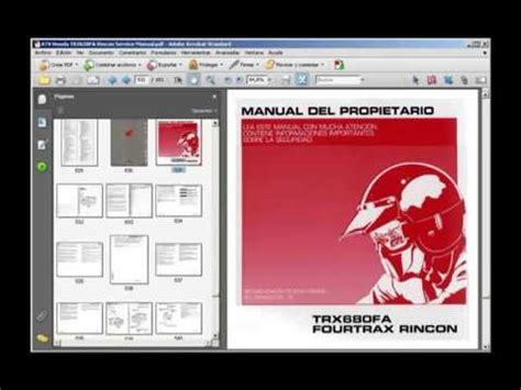 Honda Trx650fa 2003 Rincon Atv Workshop Service