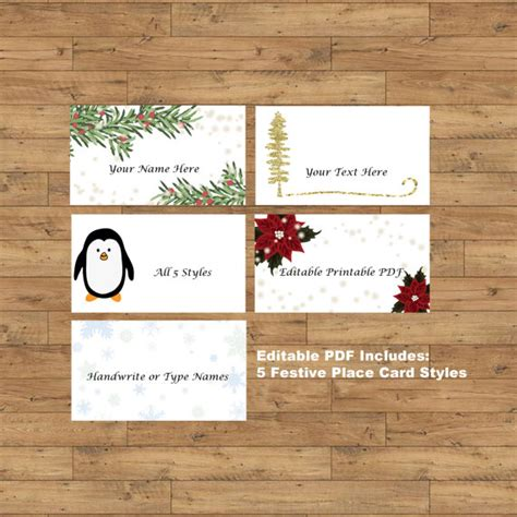 printable christmas dinner place cards items similar to printable christmas dinner place cards