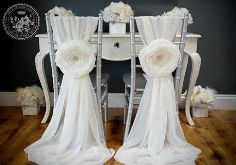 2 Wedding Large Chiffon Fabric Flower   Wedding Chair