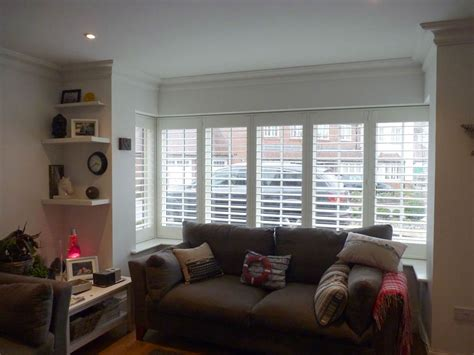 interior shutters for large windows photos of plantation shutters on square bay windows