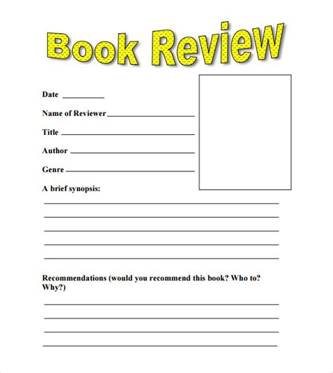 layout writing book sle book review template 10 free documents in pdf word