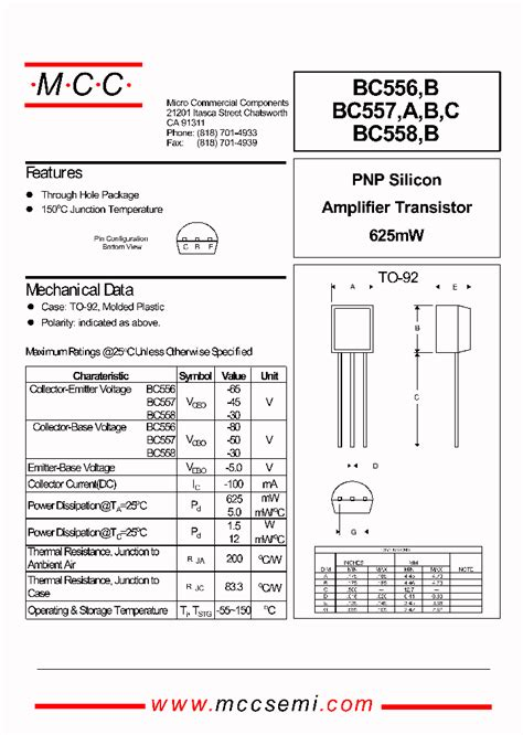 transistor bc557a datasheet 557b 339218 pdf datasheet ic on line