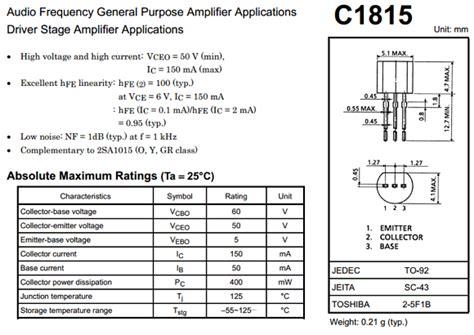transistor c1815 pinout c1815 datasheet vcbo 60v npn transistor toshiba