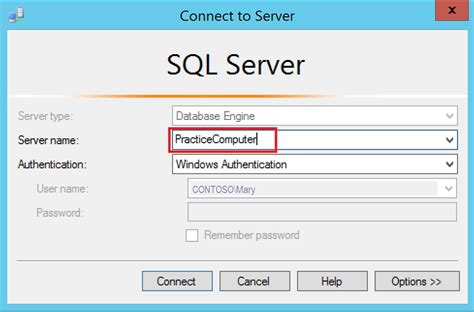 connect to lesson 1 connecting to the database engine microsoft docs