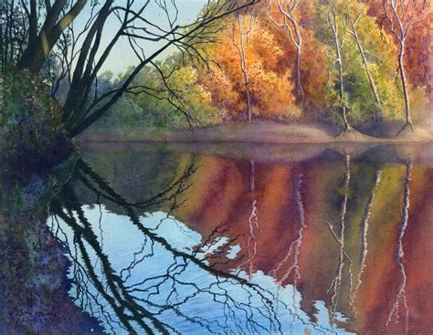 watercolor river tutorial autumn art watercolor painting landscape print by cathy