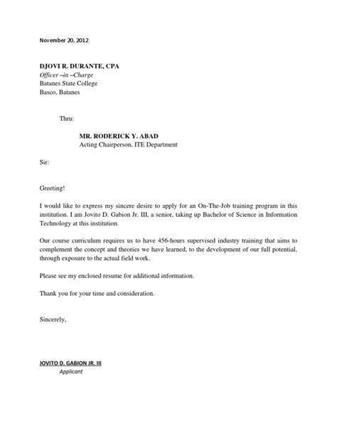 exle of application letter for ojt information technology application letter for ojt students