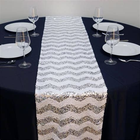 white and silver table runner alluring sequin chevron table runners silver white