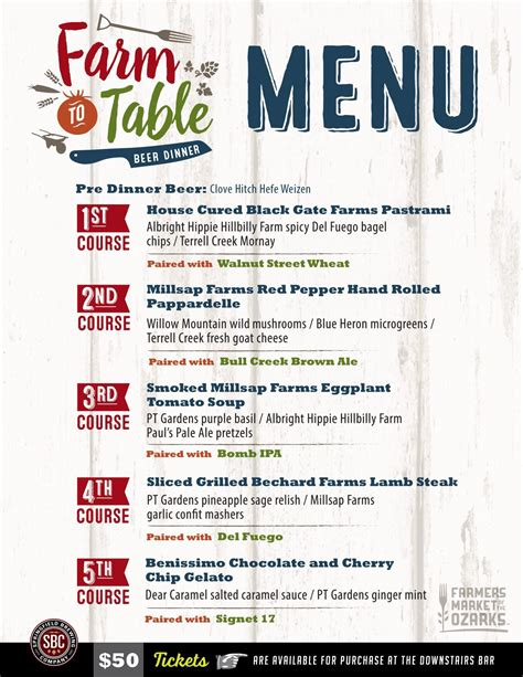 farm to table beer dinner