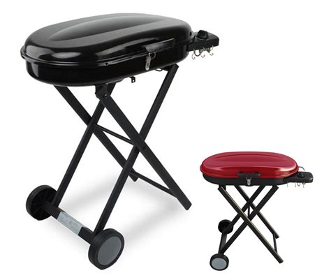 portable gas grills with foldable trolley cart for cing