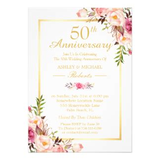 Zazzle Wedding Anniversary Cards by 50th Wedding Anniversary Invitations Zazzle