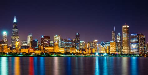 harbor lights downtown minneapolis chicago skyline at nighttime thinglink