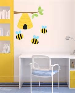 Adhesive Wall Murals bee wall decal nursery wall decor beehive bumble bee by