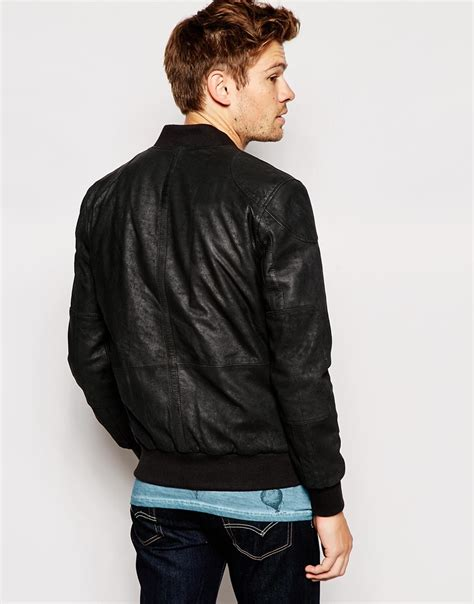Jaket Bomber Wash Jaket Bomber B Jaket Bomber Jaket lyst pepe pepe leather jacket neo slim fit bomber washed black in black for