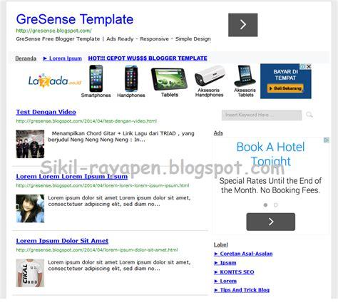 tutorial edit blogger panduan setting gresense blogger template sikil rayapen
