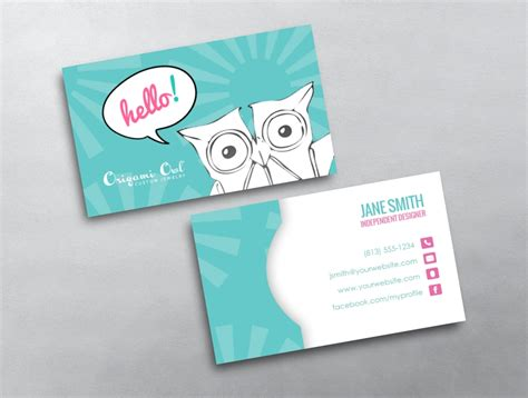 owl card template origami owl business cards vistaprint image collections