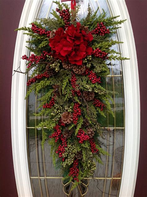 christmas wreath winter wreath holiday vertical teardrop