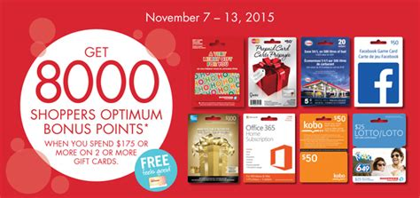 Optimum Gift Card Promotion - sdm nov 7 13 get 8000 optimum points when you buy 175 on 2 or more gift cards
