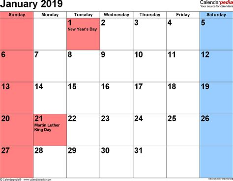 Calendar 2019 January January 2019 Calendars For Word Excel Pdf