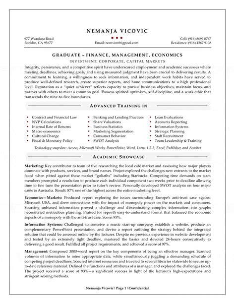 Resume Writing For New Grad management graduate resume