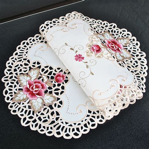 White Oval Lace Tablecloth Doily Embroidered Floral Small