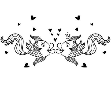 kissing fish coloring page image gallery kissing fish printable