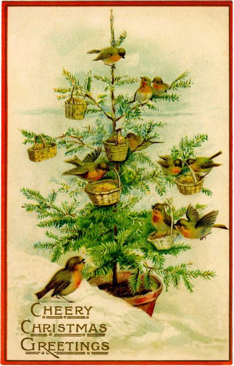 vintage birds christmas tree image charming  graphics fairy