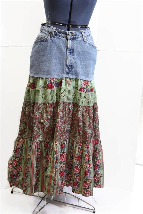 Handmade Skirts - upcycled skirt hippie patchwork skirt handmade
