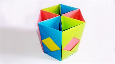 Origami Pen Stand - how to make pen stand origami pen holder paper pencil