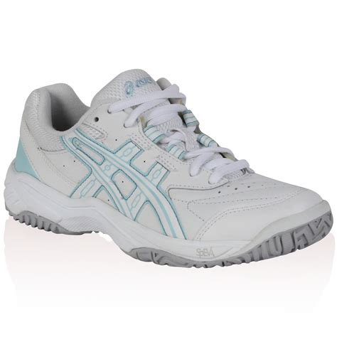 womens asics white blue lace up grip sole trainers
