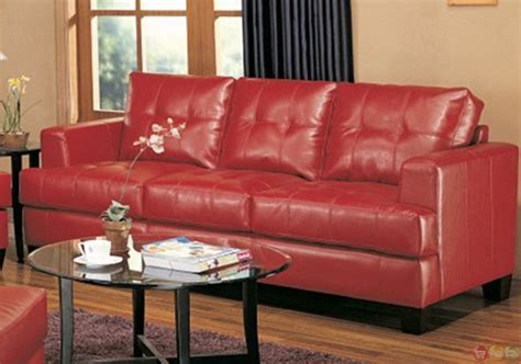 red living room set samuel red bonded leather sofa and love seat living room set
