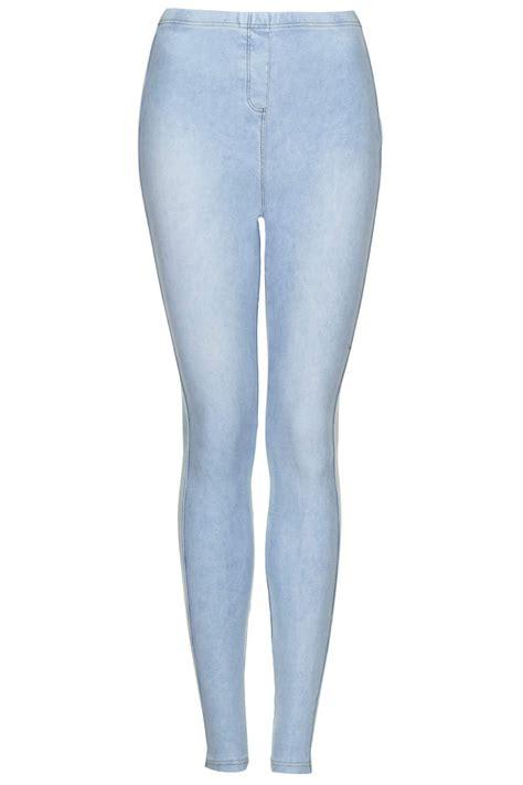 topshop patterned leggings topshop tall washed denim look leggings in blue lyst