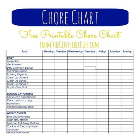 printable house chore chart chores allowances
