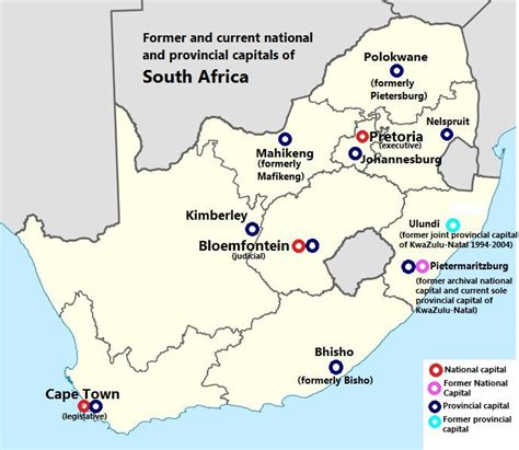 south africa map provinces and capitals capitals of south africa 688 x 598 mapporn