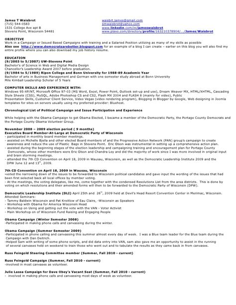 Political Resume by Resume Of A Political Caign Manager Thesistemplate