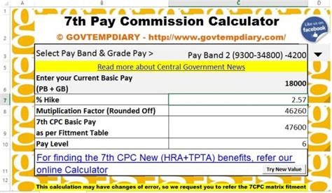 expected pay calculator as per 7th pay commission autos post