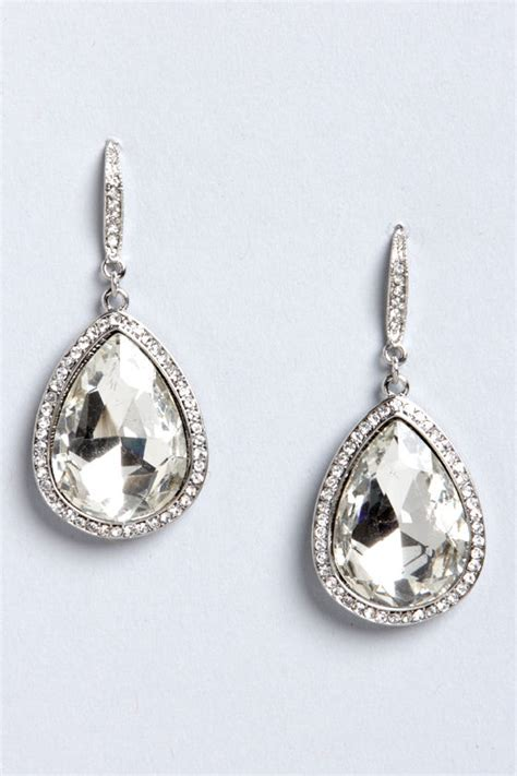 Rhinestone Teardrop Earrings teardrop earrings rhinestone earrings silver