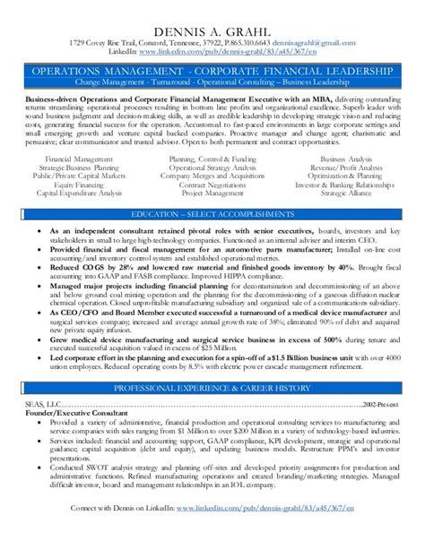 P G Resume Upload by Dennis Grahl Operations Finance Management Resume