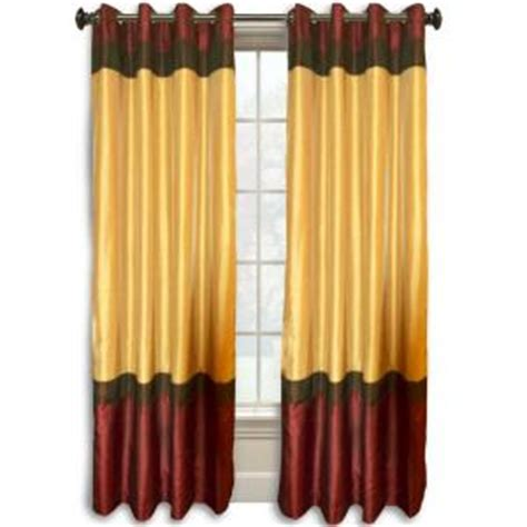 burgundy and gold curtains colorblock 95 in l burgundy gold faux silk grommet