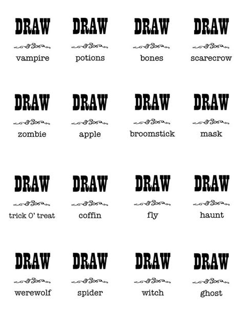 halloween charades free printable halloween game the halloween pictionary charades cards holidays pinterest