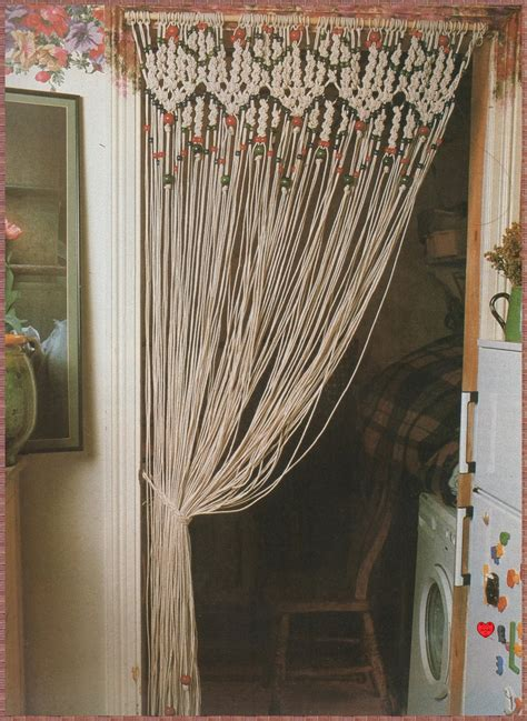 making door curtains vintage macrame pattern 1970s to make a decorative room