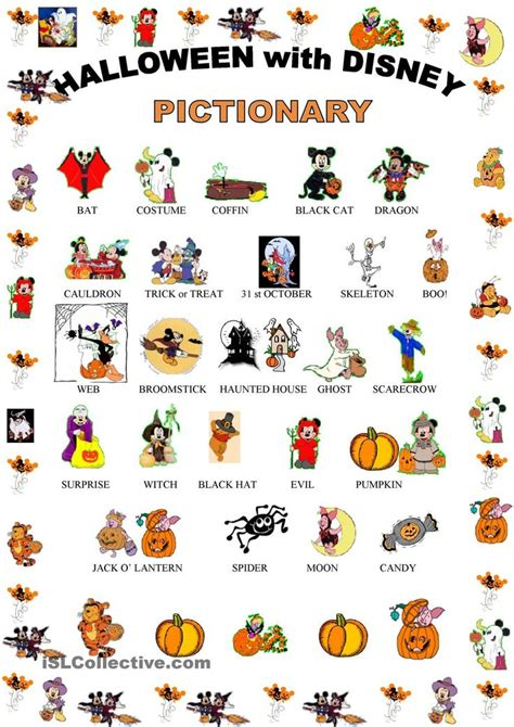 printable pictures of halloween characters halloween pictionary with disney characters english