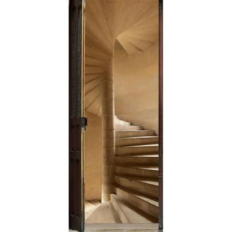 sticker de porte trompe l oeil quot escalier 224 vis quot