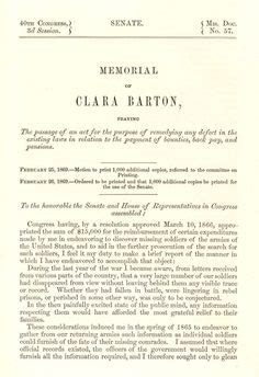 Senate Office Of Records 14 Clara Barton On Nurses Soldiers And Biographies