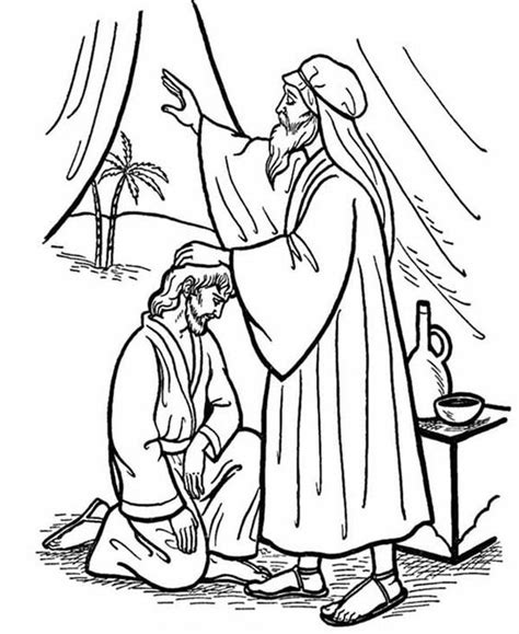 coloring page jacob and esau isaac give his blessing to jacob in jacob and esau