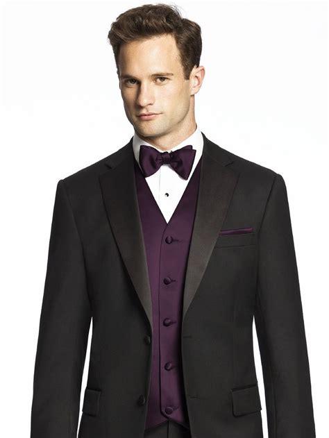 black suit with vest and bow tie color aubergine b p