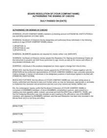 corporate resolution authorized signers template board resolution authorizing the signing of checks