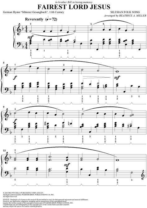song for jesus fairest lord jesus sheet for piano and more