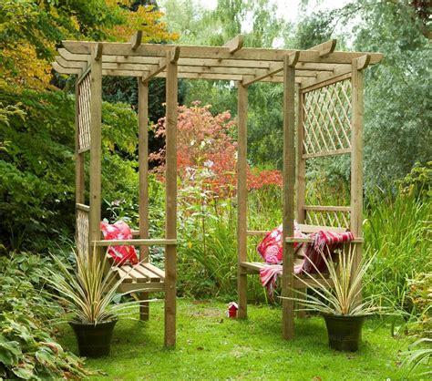 Garden Arbor Ideas Classic Walkthrough Bench Wooden Lattice Garden Arbour Pergola Seat Homestead