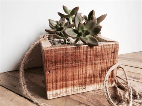 Wood Hanging Planter by Hanging Wood Planter Succulent Planter Reclaimed Wood