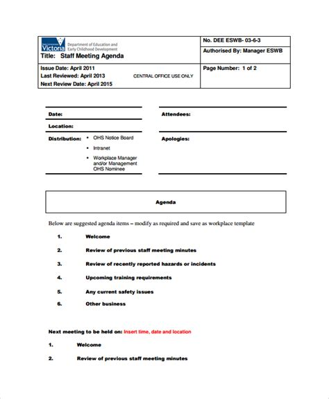 templates for agenda for staff meetings 7 sle staff meeting agenda templates sle templates